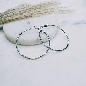 5 for $25 Silver Textured Metal Hoop Earrings